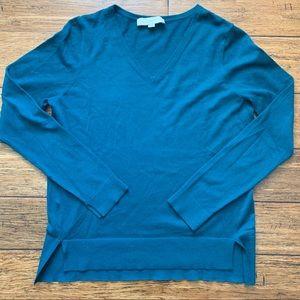 Real Split Hem V Neck Pullover Sweater